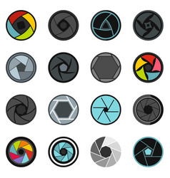 Photo diaphragm set flat icons vector