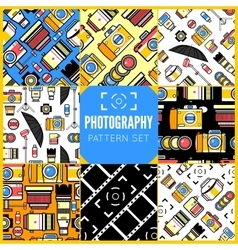 Photography seamless patterns set vector