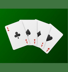 Playing cards in casino on a green background vector