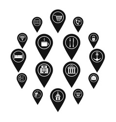 Points interest icons set simple style vector