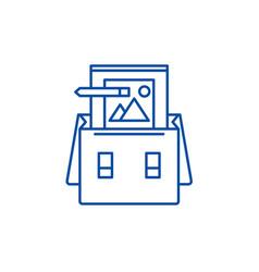 portfolio line icon concept portfolio flat vector image