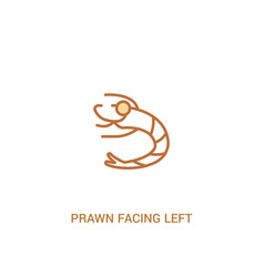 Prawn facing left concept 2 colored icon simple vector