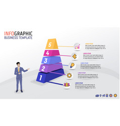 pyramid business infographic template with 5 steps vector image