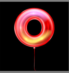 Red metallic balloon inflated alphabet symbol o vector