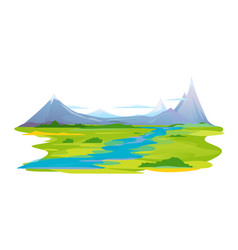 River valley in mountains vector