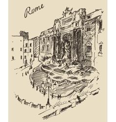 Rome Landmark in Italy engraved hand drawn vector