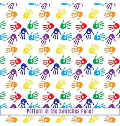 Seamless Pattern of Hand Prints in Rainbow Colors vector image