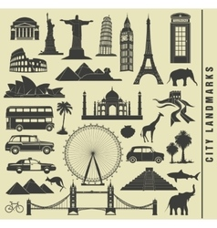 set icons of the city landmark world vector image