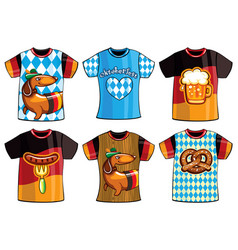 Set of colorful templates t-shirts men and woman vector