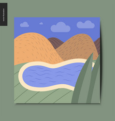 simple things - landscape with a lake and hills vector image