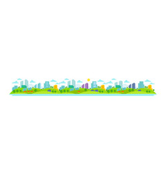 Small eco-friendly city nature landscape trees vector