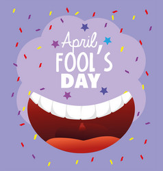 Smile mouth with teeth to fools day vector