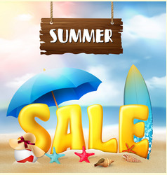 summer sale banner beach background vector image