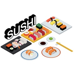 Sushi set restaurant vector