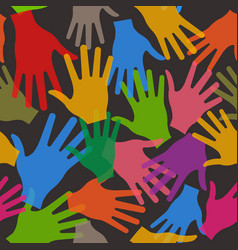 teamwork hands seamless pattern in black vector image