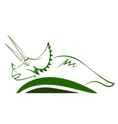 triceratops dinosaur green icon vector image