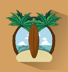 tropical surfing lifestyle theme vector image