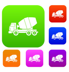 truck concrete mixer set color collection vector image