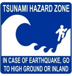 tsunami hazard zone sign vector image