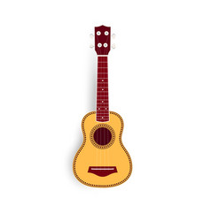Ukulele realistic yellow vector
