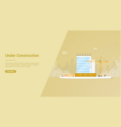 under construction development with unfinished vector image