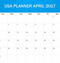 USA Planner blank for April 2017 Scheduler agenda vector