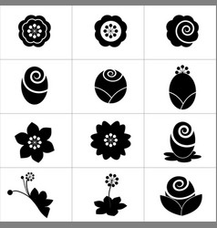 various kind flower icon on white background vector image