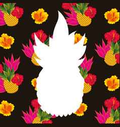 White silhouette pineapple tropical flowers vector