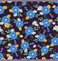 Wild flowers seamless pattern hand drawing vector