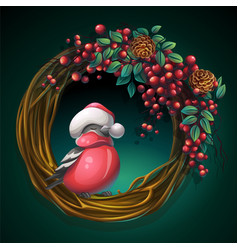 Wreath of vines with ash berry and bullfinch vector