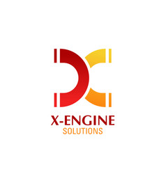 X letter icon for engine solutions vector