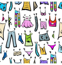 Clothes sketch seamless pattern for your design vector image