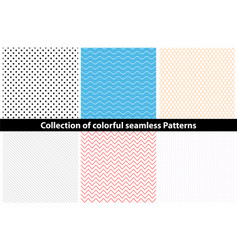 collection of simple colorful seamless patterns vector image vector image