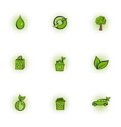 Ecology icons set pop-art style vector