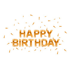 happy birthday gold greeting card vector image vector image