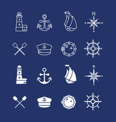 marine sea nautical pirate and maritime thin line vector image vector image