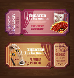 Theatre Tickets Banners Set vector image