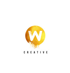 w gold letter logo design with round circular vector image vector image