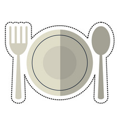 cartoon plate spoon fork utensils vector image