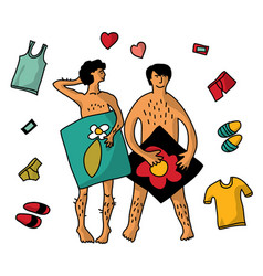 gay homosexual naked man couple isolate objects vector image