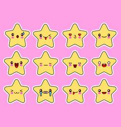 kawaii stars cartoon character set face with eyes vector image vector image