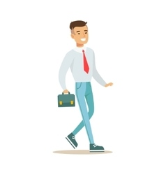 Man With Suitcase Going To Work Part Of Office vector image vector image