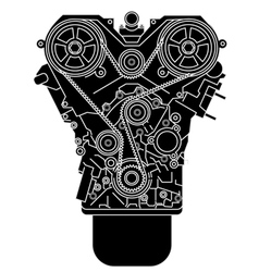 Internal combustion engine as seen from in front vector