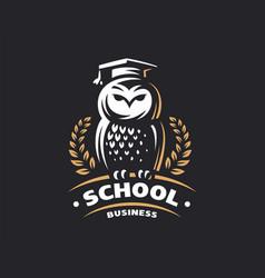 owl education logo - emblem vector image