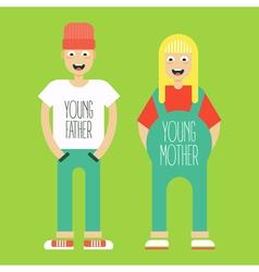 pregnant couple vector image