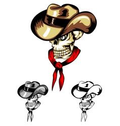 skull in cowboys hat vector image vector image