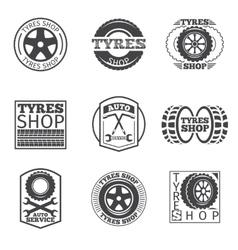 Tyre store logo Vintage car label vector image vector image