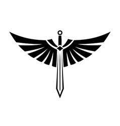 Winged sword tattoo vector