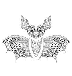 Zentangle Bat totem for adult anti stress Coloring vector image