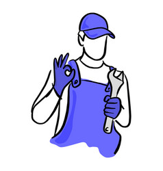 auto service or repairman with the wrench vector image
